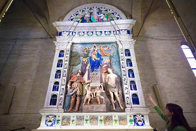 Montecassiano - Pala d'Altare di ceramica invetriata e dipinta - Mattia Della Robbia